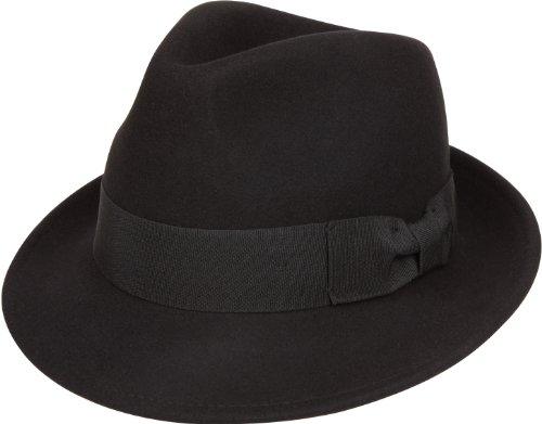 Sakkas 20EH Clark Grosgrain Bow Wool Trilby Fedora - Black - S/M - Vintage Fedora