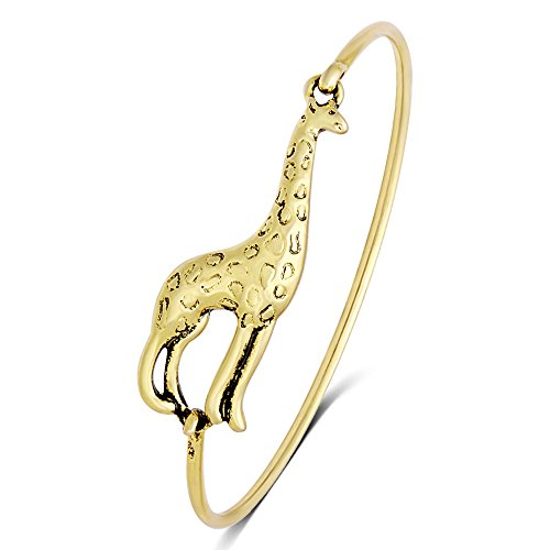 SENFAI 3 Styles Gold and Silver Color Female Lovely Cute Jewelry Giraffe Bangle Bracelet (antique bronze)