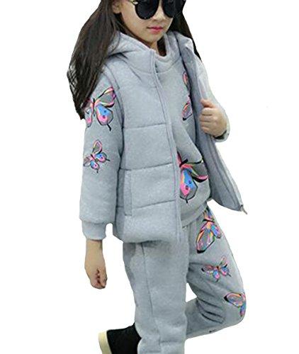 Cocominobox Girl's Cartoon Prints Hoodie Sweatshirt Jacket Pants Three Pieces (150cm/7Y, Butterfly Grey)