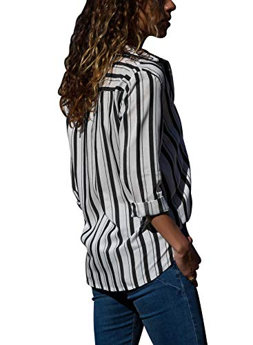 Black Blouses Sleeve Shirts Front Striped Pockets V Down Neck Tops Long Button Womens Casual X Chiffon White HOTAPEI xnAYqw1a44