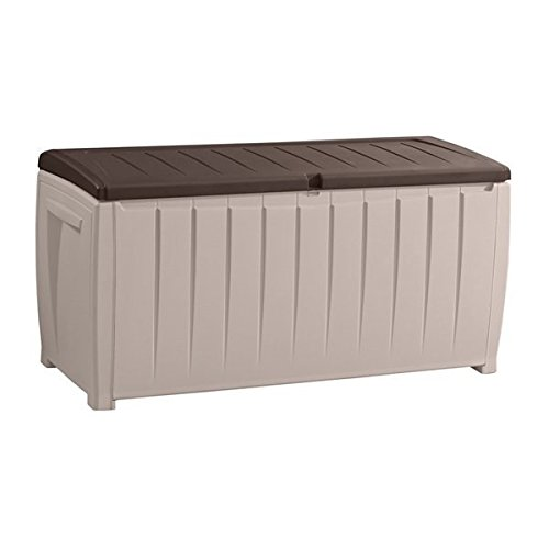 MD Group Outdoor Storage Box 90-Gallon Beige with Brown Lid Plastic Lockable Lid Patio Trunk by MD Group