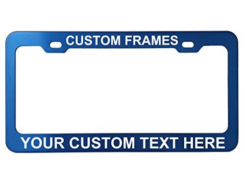 GoPlates Customized License Plate Frame Laser Engraved - Blue
