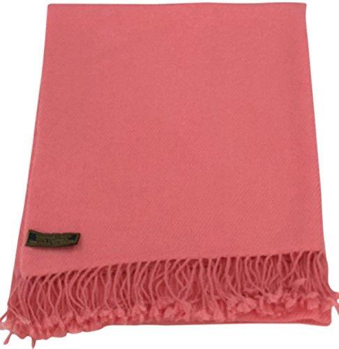 Coral Pink High Grade 100% Cashmere Shawl Scarf Wrap Hand Made in Nepal NEW
