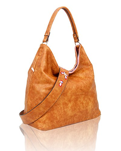 Pink Large Shoulder Tan Pu Hobo Reversible Tote Hanbag Women's Bag Embroidery Shopper Velvet Foxlady Floral OIBSqTxww