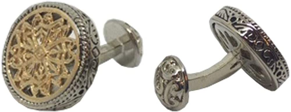 D&L Menswear Two Tone Silver Gold Plated Celtic Round Cufflinks