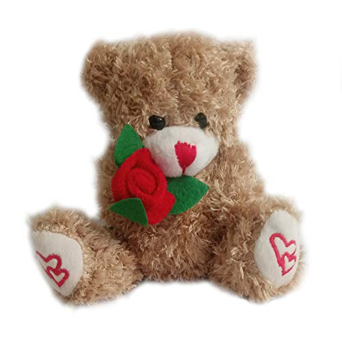 Plush Teddy Bear Hold Rose Stuffed Animal Toys