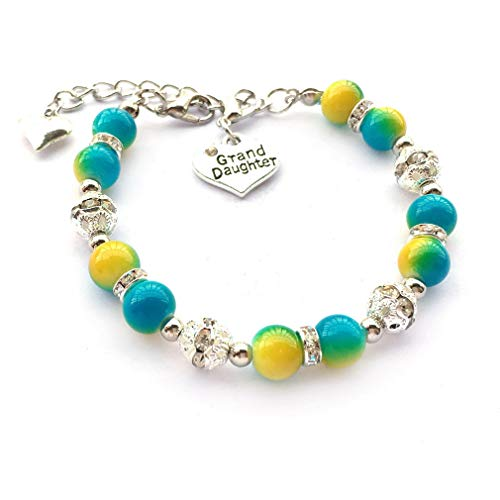 DOLON Yellow with Aqua Faux Pearls Beaded Bracelet Gift for Granddaughter ()