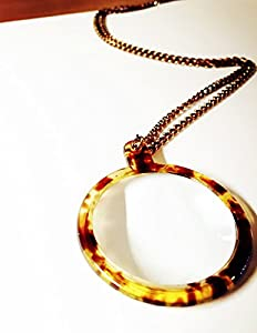 "Elegant Amber/antique Style Magnifying Glass Necklace/pendant- 3x Magnification with 30"" Matching Chain"