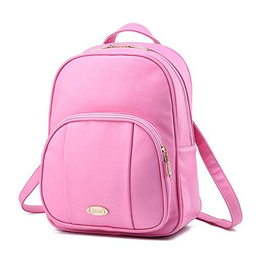 Wewod Mujeres Mochila de PU Cuero Impermeable Backpack Bolsa de Viaje Estilo Ocio Moda para Chicas 25 x 32 x 12 cm (L X H x W ) Rosa