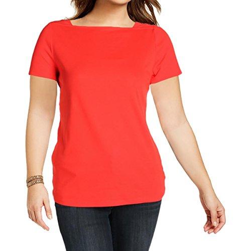 Lauren Ralph Lauren Womens Plus Boat Neck Embellished T-Shirt Red 1X by Lauren by Ralph Lauren
