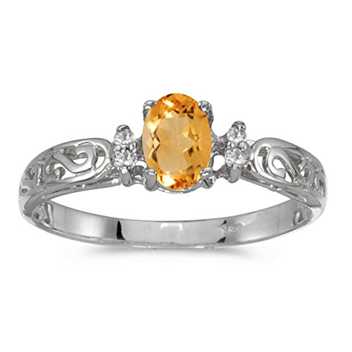 - 10k White Gold Oval Citrine And Diamond Ring (Size 7.5)