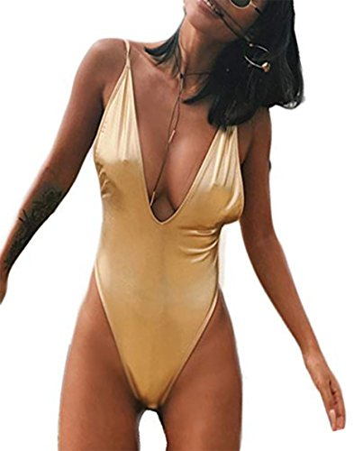 OAKBaby Women One Piece Bathing Suits Sexy Push-up Padded Bra Beach Bikini Sequin Bling Solid Color Triangle Swimsuit (Gold, XL) (Sequin Triangle)