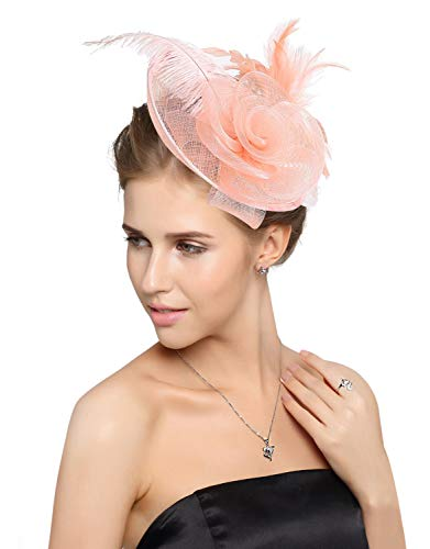 Z&X Sinamay Fascinator Headband Mesh Feather Flower Cocktail Pillbox Hat (Champagne Pink)