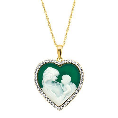 Crystaluxe Mother & Child Green Inscribed Heart Cameo Pendant Necklace with Swarovski Crystals in 18K Gold-Plated Sterling (Cameo Sterling Silver Setting Measures)