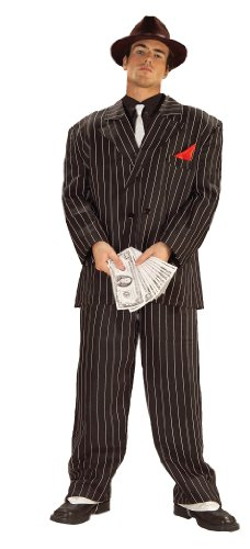 Forum Novelties Roaring 20's Chicago Gangster Costume, Black, (Mens Mafia Costume)