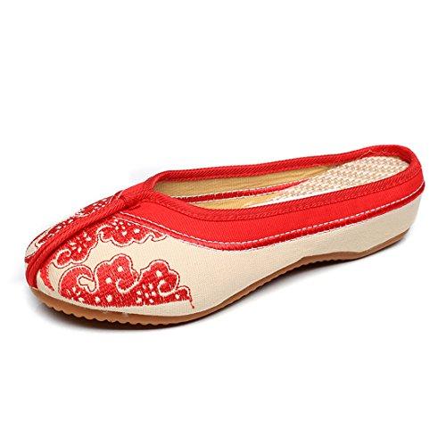 Rojo YIBLBOX y China en blanco Zapatillas Resbalón Zapatillas Calzado mujer de Azul de Elemento Bordado Mocasín gwqZI8rgx