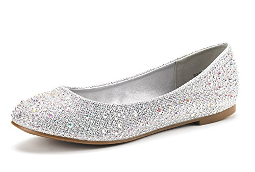 Dream Pairs Women's Sole-Shine Silver Rhinestone Ballet Flats Shoes - 6 M US