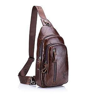 Sling Bag, Charminer Leather Chest Bag Crossbody Shoulder Business Backpack Outdoor