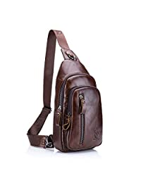 Sling Bag, Charminer Leather Chest Bag Crossbody Shoulder Business Backpack Outdoor Daypack