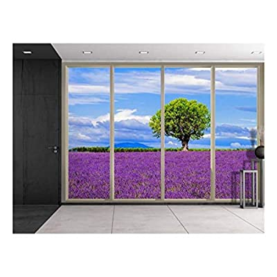 Lone Tree on a Purple Field of Flowers Viewed from Sliding Door Creative Wall Mural Peel and Stick Wallpaper, Premium Product, Magnificent Handicraft
