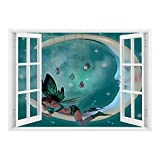 Removable Wall Sticker/Wall Mural/Moon,Beautiful Elf with Wings Fantastic Toonimal Faeire Pixie Starry Sky Cosmic Artwork,Teal White/Wall Sticker Mural