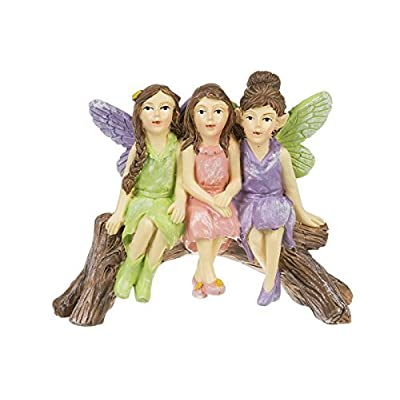 Ganz Fairies Sitting On Log Sage, Pink, And Purple 4 x 2.75 Resin Garden Figurine: Garden & Outdoor