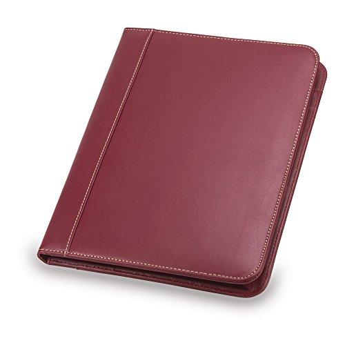 Samsill Contrast Stitch Leather Padfolio – Portfolio Folder/Business Portfolio for Men & Women – Resume Document Organizer, 8.5 x 11 Writing Pad, Burgundy