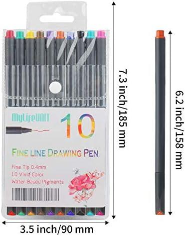 MyLifeUNIT Fineliner Color Pen Set, 0.4mm Colored Fine Liner Sketch Drawing Pen, Pack of 10 Assorted Colors 3