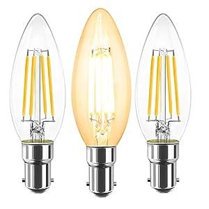 CAMORF B15 LED Filament Candle Bulb Dimmable,CRI 90+ Vintage LED Candle Bulbs SBC,C35 No Flicker Small Bayonet Cap Light…