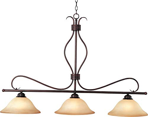 (Maxim 10127WSOI Basix 3-Light Pendant, Oil Rubbed Bronze Finish, Wilshire Glass, MB Incandescent Incandescent Bulb , 60W Max., Dry Safety Rating, Metal Shade Material, Rated Lumens)