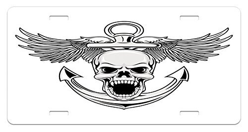 zaeshe3536658 Anchor License Plate, Skull with Anchor and Eagle Wings Freedom Devil Sea Hunter Skeleton Myth Graphic, High Gloss Aluminum Novelty Plate, 6 X 12 Inches. by zaeshe3536658