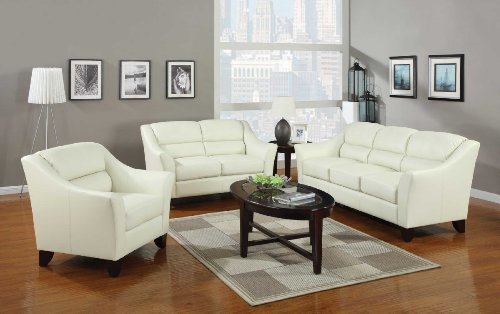 Contemporary Ivory Leather Sofa - Contemporary Three Seat Sofa in Ivory by Coaster