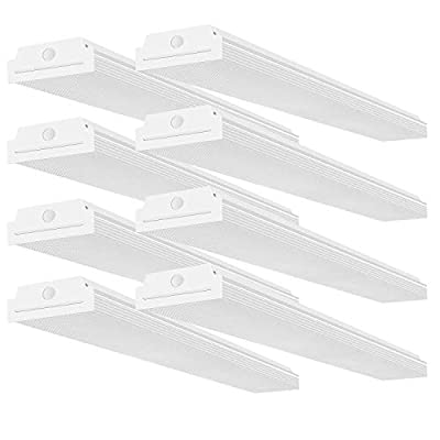 FaithSail 4FT LED Wraparound Garage Shop Lights - 40W 4400lm 4000K Neutral White - 4' LED Wrap Light Flush Mount Linear Office Ceiling Lighting, 4 Foot Fluorescent Light Fixture Replacement, 8 Pack