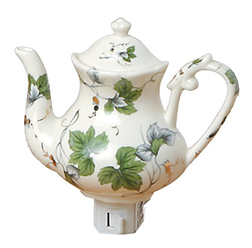 Green Pastures Wholesale Ivy Teapot Porcelain Night Light, 6-Inch by 5-Inch by 6-Inch