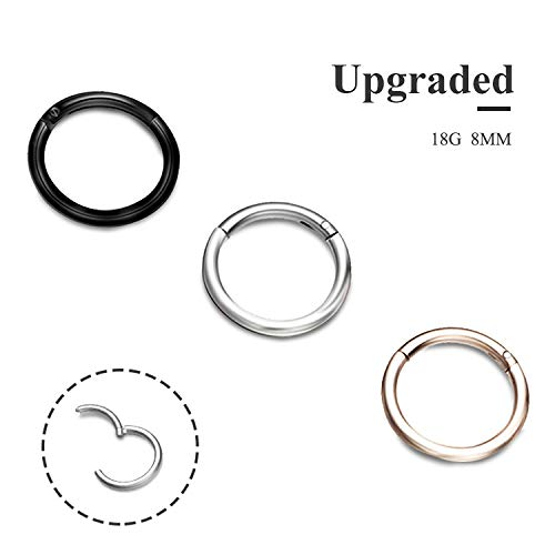 EVBEA 3-4 PCS Cartilage Earring Hoop 14G 18G 8mm 10mm 12mm Surgical Steel Septum Jewelry Daith Piercing Nose Ring