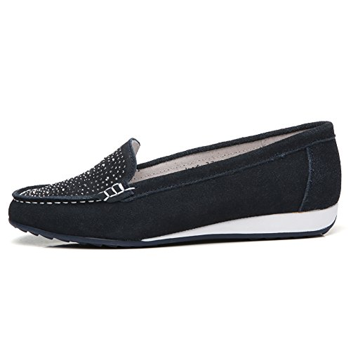 HKR Women Slip On Suede Ballet Flats Rhinestone Comfortable Loafers Ladies Office Dress Work Shoes Navy blue 7XA8tHWCWM