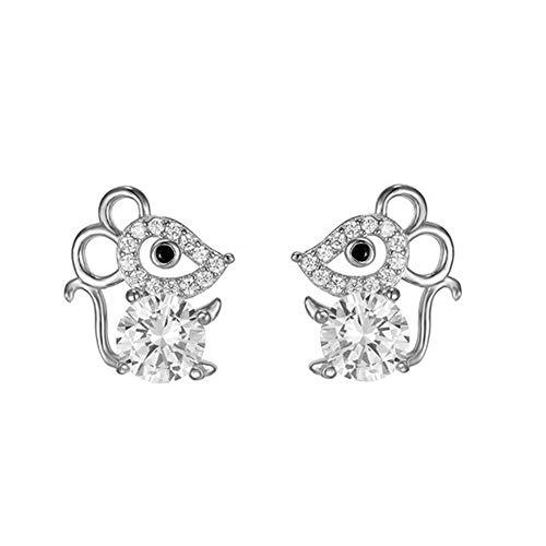 Hoocozi Stud Earrings 925 Sterling Silver Cute Animal Stud Earrings Birthstone Year of The Rat Jewelry Mouse Stud…