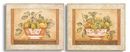 Traditional, Classic Still Life Fruit Bowls; Two 14x11in Poster Prints ()