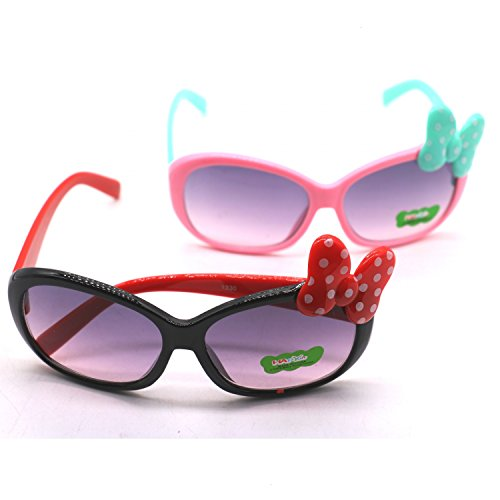 2pcs Flexible Kids Polarized Sunglasses Girls and Boys Cat Eye Sunglasses for Baby and Children Age 3-10 - Girls Sun Glasses With