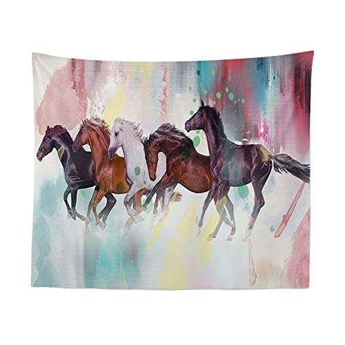 Tapestry Wall Hanging, Running Horses Painting,Bohemian Hippie Psychedelic Indian Spiritual Vintage Print Fabric,Large Size Art Decorative Cloth for Living Room Bedroom,150 × 130 cm