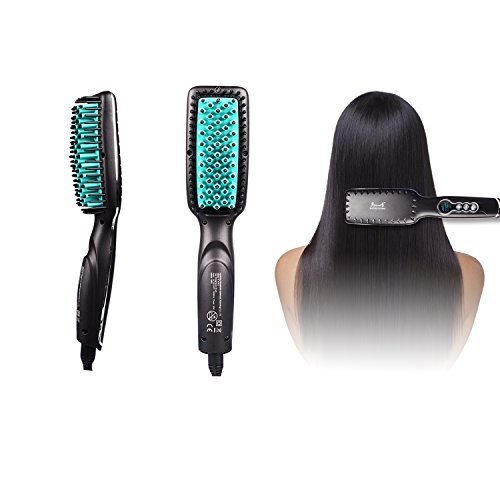 Price comparison product image Straightening Brush, Hair Straightening Brush, Hair Straightener Brush with LED Temperature Display for Silky & Straight Hair (matt black)