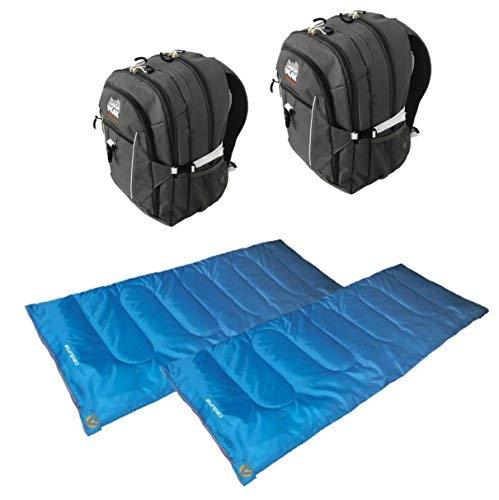 Alpinizmo High Peak USA 2 Vector 38 Backpacks + 2 Ceduna 20 Sleeping Bags Combo, Grey/Blue, One Size [並行輸入品]   B07R3RQJ2D