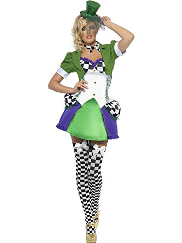 Ladies Sexy Miss Mad Hatter Alice in Wonderland Fever Halloween Fancy Dress Costume Outfit (UK 8-10) -