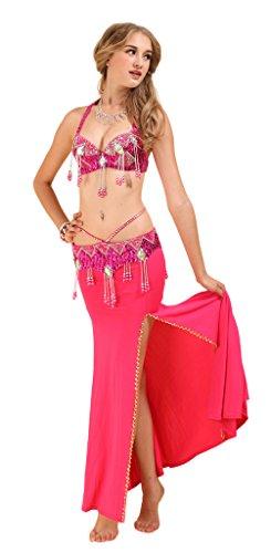 GUILTY BEAUTY Belly Dance Costume,Halter Bra Strap Belt Pencil Skirt 3pcs set,9Colors (Dacne Costumes)