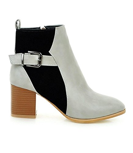 Chaussures Bottes Biker cheville Calf mode Winter Femmes MNII Heel gray Taille Knee Stiletto Femmes de High de COgCqwf