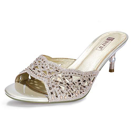 IDIFU Women's IN2 Nina Rhinestone Open Toe Slide Heeled Sandals Stiletto Kitten Heel Dress Party Mule Shoes (7 M US, Gold) ()