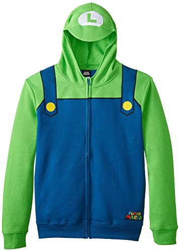 Luigi Costumes Mens (Nintendo Luigi Bill Men's Green Zip-Up Costume Hoodie-Navy/Kelly-X-Large)