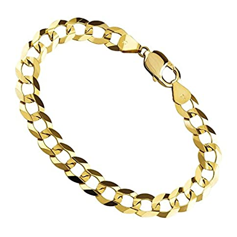 - 41gQ72vNssL - 14K Yellow Gold Mens 9MM Thick Cuban/Curb Link Chain Bracelet- Made in Italy- 8.5″