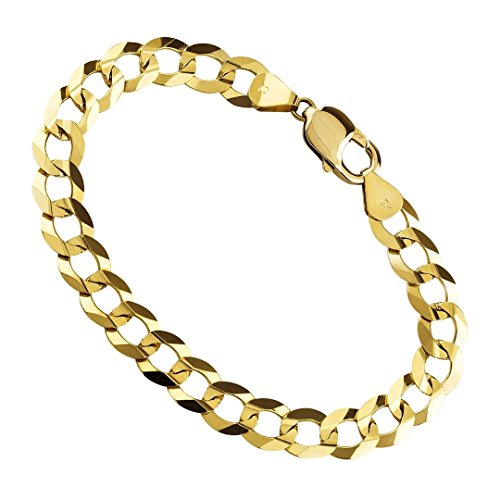 - 14K Yellow Gold 7.5MM Cuban/Curb Link Chain Bracelet- Made in Italy- Multiple Lengths available (8.5)