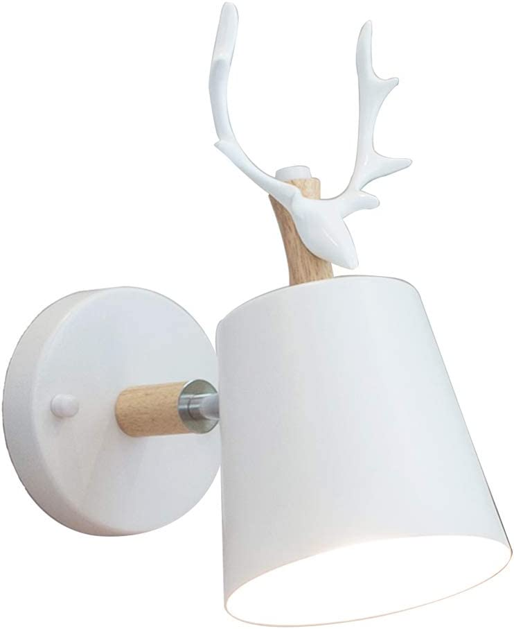 E27 Apliques Pared Lámparas Sala De Estar Dormitorio Mesita De Noche Moderna Minimalista Personalidad De Hierro Forjado Creativa Cornamenta Cabeza Astas (Blanco)